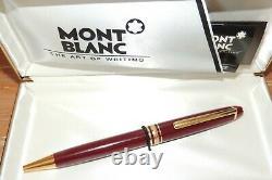 L@@k! Vintage 1980's Montblanc Meisterstuck 164 Burgundy Gold Ballpoint Pen