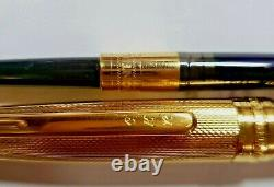 MONTBLANC MEISTERSTUCK 925 GOLD VERMEIL FOUNTAIN PEN 18K M Nib BARLEY
