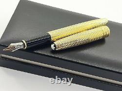 MONTBLANC MEISTERSTUCK FOUNTAIN PEN AG925 GOLD PLATED NIB 18k F MADE IN GERMANY