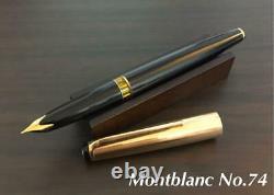 MONTBLANC MEISTERSTUCK Fountain Pen No. 74 Gold Cap Nib 18K F 1960's Vintage JPN