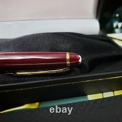 MONTBLANC Meisterstuck 144 Burgundy Red Classic Gold 14K Fine Fountain Pen NOS
