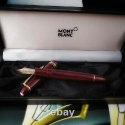 MONTBLANC Meisterstuck 146 LeGrand Burgundy Red Gold 14K M Fountain Pen MINT