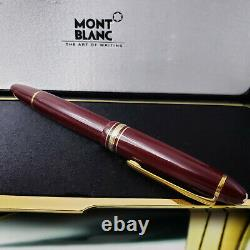 MONTBLANC Meisterstuck 146 LeGrand Burgundy Red Gold Fountain Pen 14K EF Nib