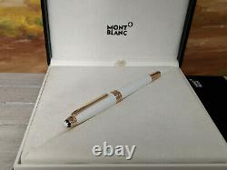 MONTBLANC Meisterstuck White Solitaire Red Gold-plated Classique Rollerball Pen