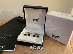 Mont Blanc Meisterstuck Star Black Bar Onyx Rose Gold Tone Cufflinks & Gift Bag