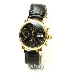 MontBlanc Meisterstuck Chronograph Watch 7016 Automatic Black Gold Made in Swiss