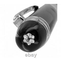Montblanc 105977 Meisterstuck Black Platinum Diamond 18k Gold F Nib Fountain Pen