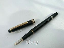 Montblanc Classique Meisterstuck Fountain Pen Black with Gold Trim 14k Medium 144