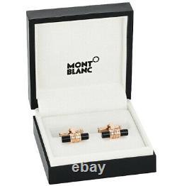 Montblanc Cufflinks Meisterstuck Bar Shape Red Gold Pvd Onyx Cufflinks