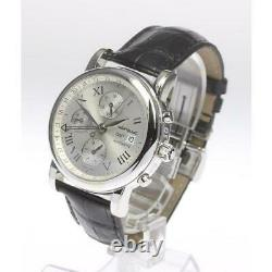 Montblanc GMT Chronograph 7067 Stainless Leather Automatic Men's Watchb0514