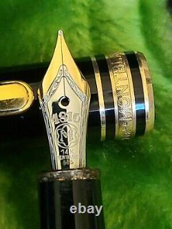 Montblanc Meisterstuck 144 Burgund Gold 14K Nib M Fountain Pen Nice Condition