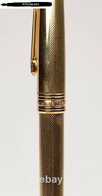 Montblanc Meisterstuck 144 Fountain Pen Solitaire 22 K Gold Plated Guilloche