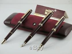 Montblanc Meisterstuck 144 Set Of 3 Pens Burgundy Line Gold With Original Box +