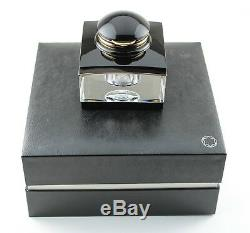 Montblanc Meisterstuck 149 Diplomat Fountain Pen and Black/Gold Crystal Inkwell