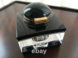 Montblanc Meisterstuck Crystal, Black and Gold Desk Inkwell for Fountain Pen