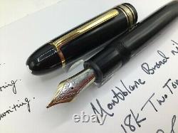 Montblanc Meisterstuck Diplomat 149 Black Resin Broad Pt 18k Nib Gold Trim c1995