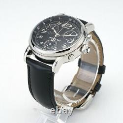 Montblanc Meisterstuck Star 7038 Chronograph 36mm Black Dial with Leather Strap