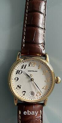 Montblanc Meisterstuck Star Large 36mm Quartz White Dial Leather Strap Watch