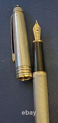 Montblanc Meisterstuck Sterling 925 Silver Fountain Pen with Gold Trim