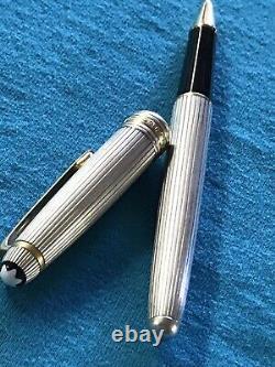 Montblanc Meisterstuck Sterling Silver 925 Pinstripe Ballpoint Pen Gold Trim