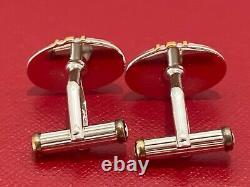 Montblanc Meisterstuck Sterling Silver Gold Oval Cufflinks