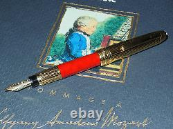 New Montblanc Meisterstuck W. A. Mozart Solitaire Fountain Pen Red Coral/Gold