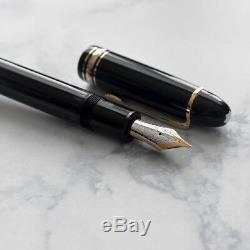 VINTAGE Montblanc Meisterstuck 149 Black & Gold Diplomat Fountain Pen 14k M Nib