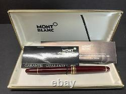 VTG Montblanc Fountain Pen Meisterstuck 4810 Burgundy Nib Solid Gold 14KT M Red